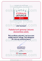 Certificate Strongest in Lithuania 2013
