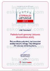 Certyfikat Najsilnejsze na Litwie 2013