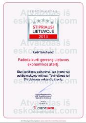 Sertifikatas Stipriausi Lietuvoje 2013