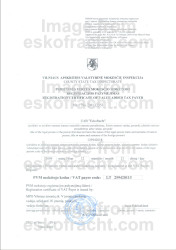 Registration Certificate of VAT Payer (2009)